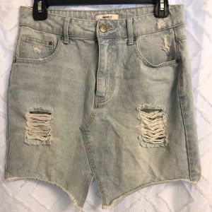 Forever21 White Washed Jean Skirt